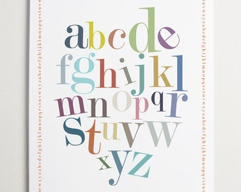 Modern, Nursery wall art, Alphabet Border Print by ModernPOP