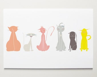 Cats Wall Art Print by ModernPOP - Nursery Room Art - Baby Girl Decor - Playroom Kids Art
