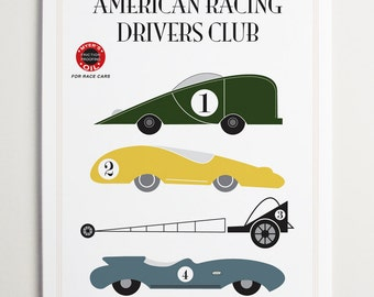 American Racing Drivers Club, Race Car Art by ModernPOP - Art for Kids Room