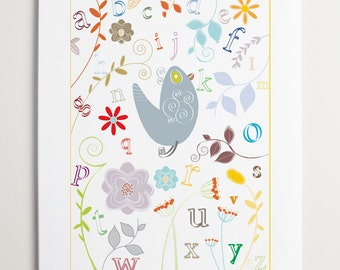 ModernPOP, Nursery Wall Art, Alphabet Print, Little Alphabet Garden - Whimsical Wall Art - Cute Birds - Art for Girls