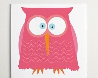 Pretty in Pink Owl Art by ModernPOP