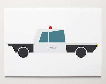 Police Car Wall Art by ModernPOP - Artwork for Boys Room - Baby Boy Art