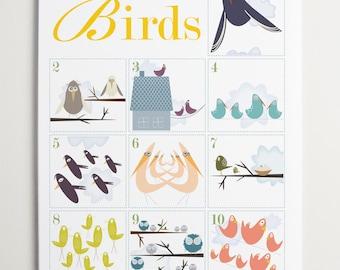 Counting Birds 1-10 Number Art by ModernPOP - Cute birds - Art for kids - Playroom Decor - Nursery Birds