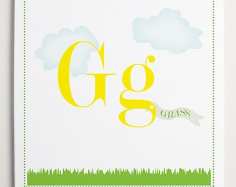 Gg is for Grass Alphabet Print by Modernpop