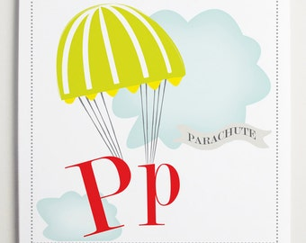 Pp is for Parachute Alphabet Print - Wall Art for Kids - Alphabet Letters - Playroom Wall Art - Nursery Room ideas - Wall Letter P