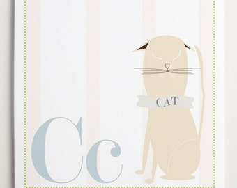 Cc is for CAT Alphabet Print by Modernpop - Cute Cat - Cat Wall Art - Alphabet Letters - Children's Wall Decor - Wall Letter C
