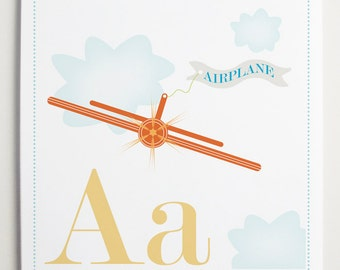 Aa is for Airplane Alphabet Print by Modernpop
