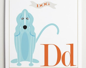 Dd is for DOG Alphabet Print by Modernpop - Wall Letter D - Dog Art - Blue Dog - Cute Dog - Alphabet Poster