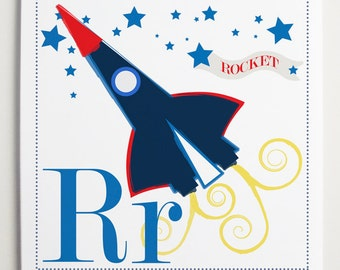 Rr is for Rocket Alphabet Print by Modernpop