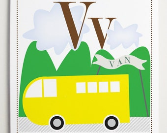 Vv is for Van Alphabet Print by Modernpop
