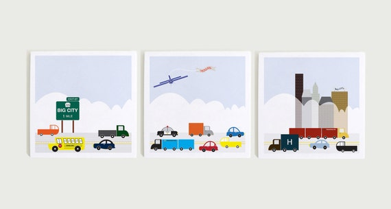 The City Triptych Customizable Wall Art by ModernPOP