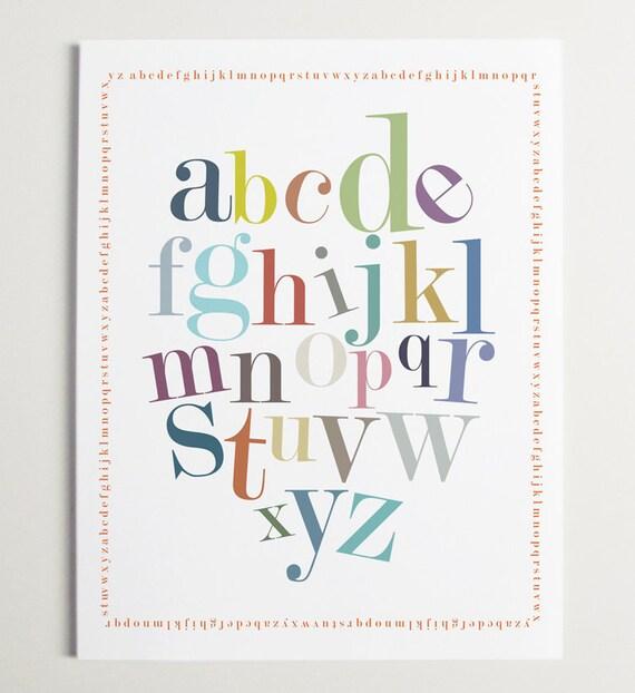 Modern, Nursery wall art, Alphabet Border Print by ModernPOP