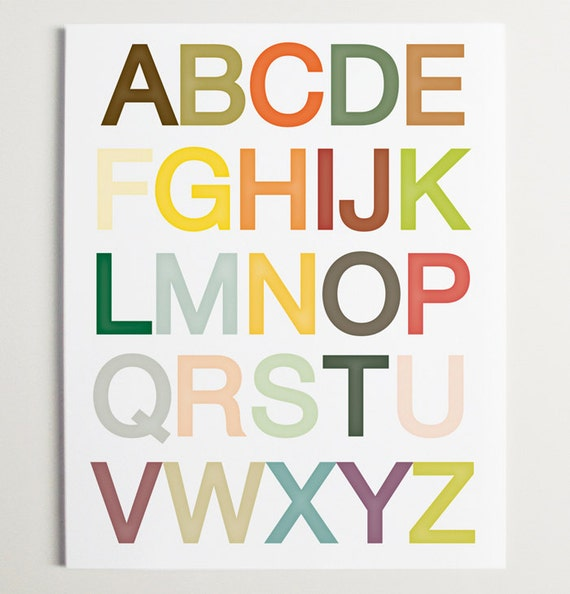 Alphabet Wall Art Print by ModernPOP - Nursery Art - Baby Playroom - Baby Shower Gift