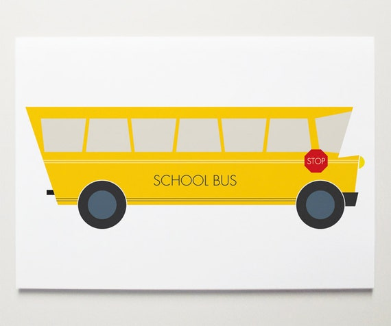 School Bus Art Print by ModernPOP - Art for Nursery room - Baby Boy Nursery Art