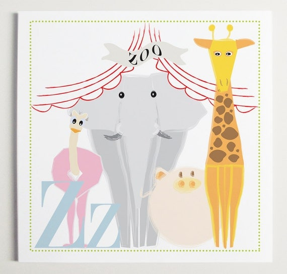 Zz is for Zoo Alphabet Print by Modernpop