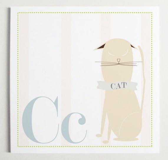 Cc is for CAT Alphabet Print by Modernpop - Cute Cat - Cat Wall Art - Alphabet Letters - Children's Wall Decor - Wall Letter C