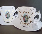 Tea Cup Cards - 2 card set -with Secret Message removableTea Bags  -18kt Gold leaf Victorian Style NO.8009