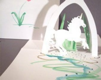 Pop Up Card  Unicorn 180 Degrees...18kt gold leaf embellishments -ITEM 7790