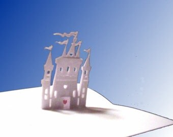 Castle Pop-Up Card 180 degrees with hearts 5X7 -NO.7807 A7