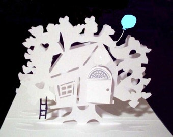 Tree House Pop-Up Card 180 degrees- with Balloon and Ladder -Item 7804T