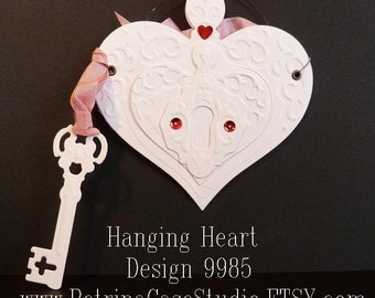 Heart double sided embossed heart and key -put wishes in and hang up Design 9985