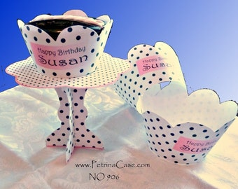 Cupcake Stand Printables Pattern and Cupcake Wrap - Black Polka Dots Pink Trim -change to any event  - NO 906A