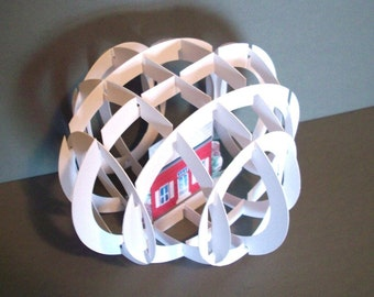 Printable Pop-Up Card Globe House - Custom no glue Greeting card Item 7880