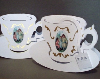 Printable PATTERN Tea Cup Cards with removableTea Bags. Makes 2 per page Design 8009P