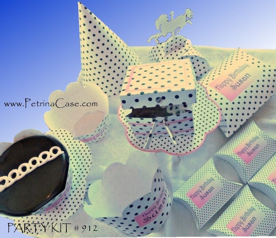 Party Kit Printables. Print your own party KIT No 912-Black Polka Dots Pink Trim -change to any event