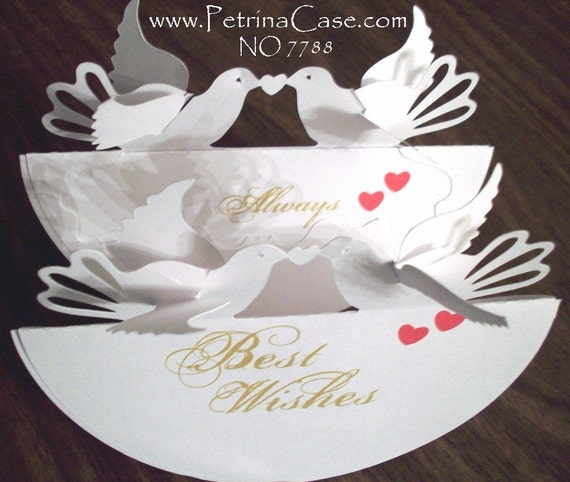 How To Make Wedding Pop Up Cards : Wedding Printable PATTERN Anniversary Pop-Up Card LOVE DOVES