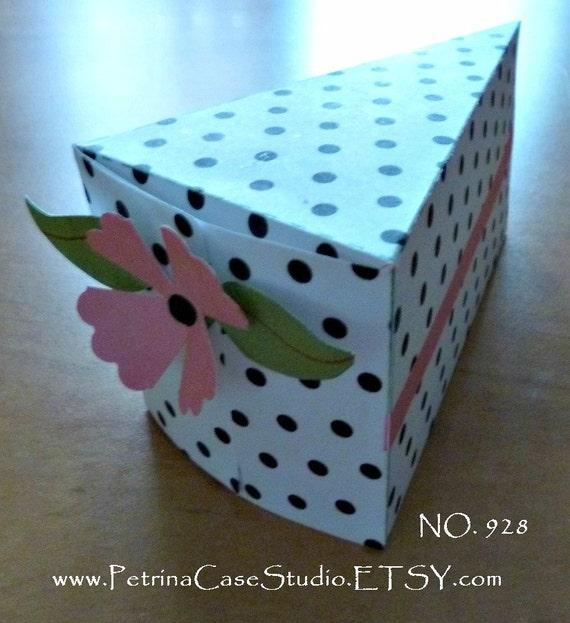 Printable Cake Slice Favor Box and FREE door hanger- any Theme -Black Polka Dots Pink Trim - NO 928