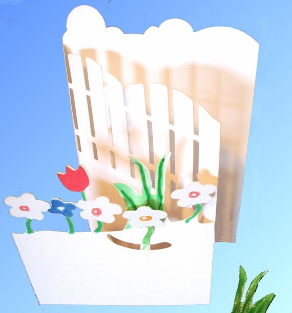 Pop Up Card Garden and Gate...Secret Inspirational Message pulls out  All occasion card Design 9917