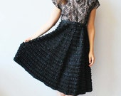 50s Party Dress Lace bodice and ruffled skirt rhine stoned bodice women's size 12