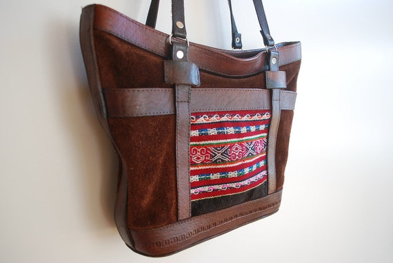 Genuine Leather Tribal Purse, Satchel Bag