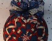 Quilted Ornaments Quilt Ball Ornaments Red White Blue Stars Flag with Matching Charm and Handmade Beaded Hanger