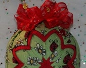 Quilted Ornaments Quilt Ball Ornaments Longaberger Lucky Ladybugs St. Patrick's with Matching Ladybug Charm and Handmade Beaded Hanger