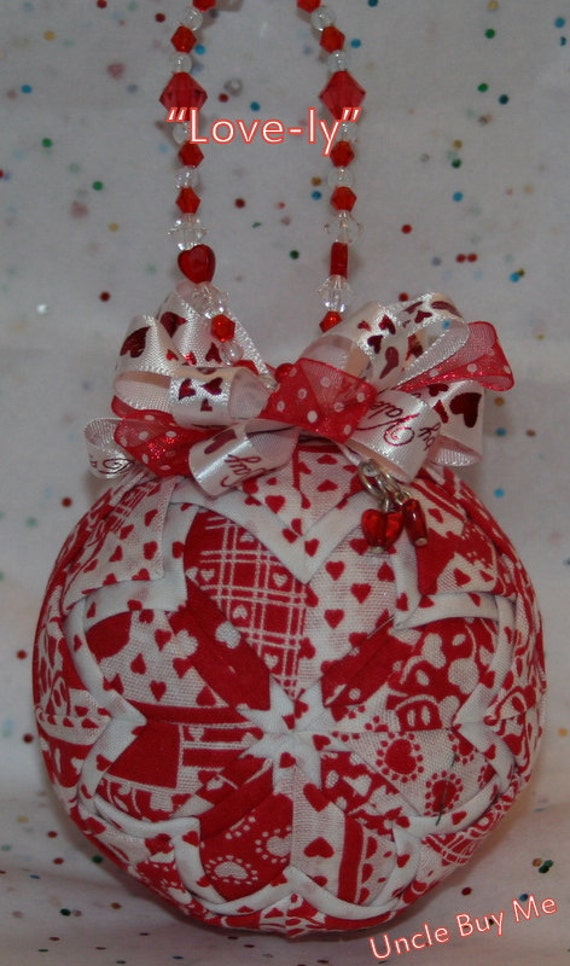 Quilted Ornaments Valentine's Day Quilt Ball Red White Hearts Handmade Beaded Hanger Heart Charm