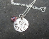 Hand stamped name necklace -Child sized with crystal
