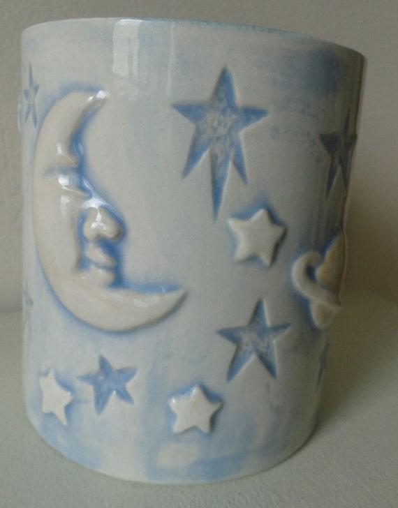 Ceramic Sun Moon Stars Vase Jar with Lid