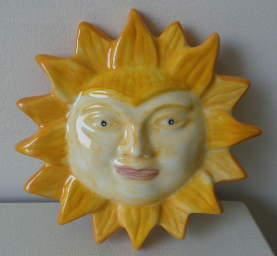 Ceramic Sun Wall Hanging Plaque Decoration
