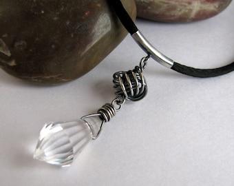 Sterling Silver Crystal Pendant, Handmade Necklace, Love Knot Dangle Pendant