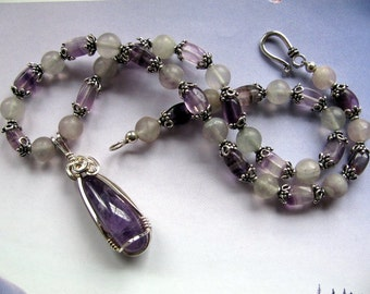 Amethyst Gemstone Pendant, Purple Necklace, Sterling Silver Wire Wrapped Handmade Jewelry