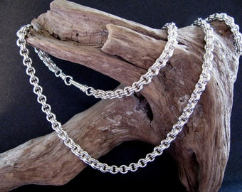 Unisex Solid Sterling Silver Chain, Handmade Chainmaille Jewelry, Heavy Dense Silver Chain 23 Inches