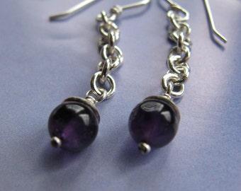Amethyst Earrings, Sterling Silver Dangle Earrings, Handmade Jewelry, Purple Gemstone Earrings