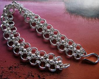 Sterling Silver Chainmaille Bracelet, Handmade Silver Jewelry, Medium Heavy Link Bracelet