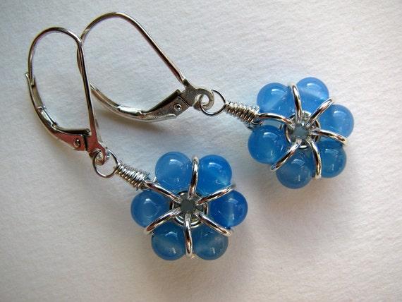 Blue Agate Flower Earrings, Sterling Silver, Small