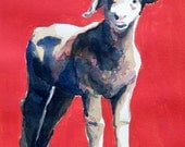 Lamb portrait on paper with red background watercolor acrylic original painting 13 x 10 inches