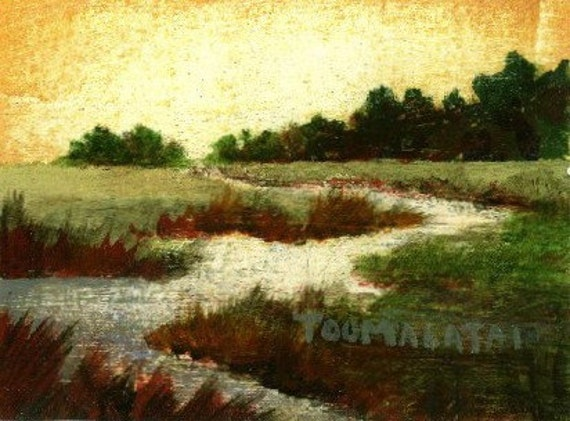 Oil Painting landscape river, Flowing Water - miniature oil painting on paper