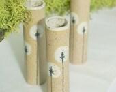 Set of 3 - white dandelion mini bud wall vases