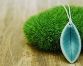 Ficus leaf necklace in peacock blue